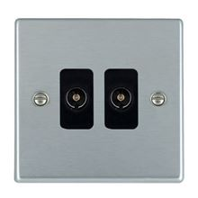 Picture of Hartland SC/BL 2 Gang Non Isolated Television 2 in / 2 out Coaxial Socket
