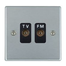 Picture of Hartland SC/BL 2 Gang Isolated TV/FM 1 in / 2 out Coaxial Socket