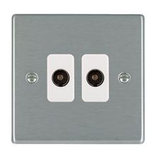 Picture of Hartland SS/WH 2 Gang Non Isolated Television 2 in/2 out Coaxial Socket