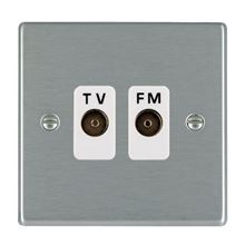 Picture of Hartland SS/WH 2 Gang Isolated TV/FM 1 in/2 out Coaxial Socket