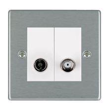 Picture of Hartland SS/WH 1 Gang TV + 1 Gang Satellite Coaxial Socket