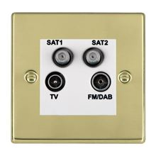 Picture of Hartland PB/WH TV + FM + Satellite + Satellite DTV Screened Non Isolated Socket