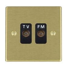 Picture of Hartland SB/BL 2 Gang Isolated TV/FM 1 in/2 out Coaxial Socket