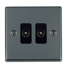 Picture of Hartland BN/BL 2 Gang Non Isolated Television 2 in/2 out Coaxial Socket