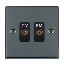 Picture of Hartland BN/BL 2 Gang Isolated TV/FM 1 in/2 out Coaxial Socket