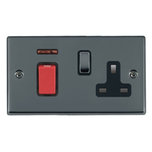 Picture of Hartland BN/BL 1 Gang 45A Double Pole Switch Red + Neon + 1 Gang 13A Switched Socket