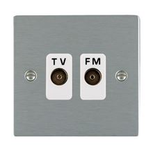 Picture of Sheer SS/WH 2 Gang Isolated TV/FM 1in/2 out Socket