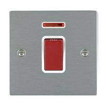 Picture of Sheer SS/WH 1 Gang 45A Double Pole Switch Red + Neon
