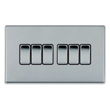 Picture of Hartland Screwless BC/BL 6 Gang 2 WAY 10AX Rocker Switch