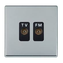 Picture of Hartland Screwless BC/BL 2 Gang Isolated TV/FM 1 in/2 out Coaxial Socket