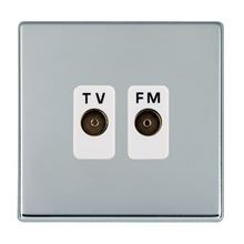 Picture of Hartland Screwless BC/WH 2 Gang Isolated TV/FM 1 in/2 out Coaxial Socket
