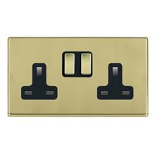 Picture of Hartland Screwless PB/BL 2 Gang 13A Double Pole Switched Socket