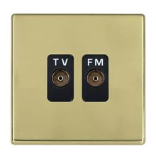 Picture of Hartland Screwless PB/BL 2 Gang Isolated TV/FM 1 in/2 out Coaxial Socket