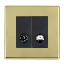 Picture of Hartland Screwless PB/BL 1 Gang TV + 1 Gang Satellite Coaxial Socket