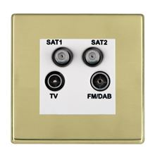 Picture of Hartland Screwless PB/WH TV + Satellite 1 + Satellite 2 + FM Socket SKY HD Ready