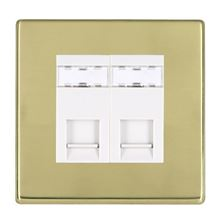 Picture of Hartland Screwless PB/WH 2 Gang RJ12 Outlet - Unshielded Outlet
