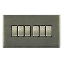 Picture of Hartland Screwless AB/BL 6 Gang 2 WAY 10AX Rocker Switch