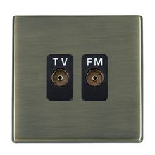 Picture of Hartland Screwless AB/BL 2 Gang Isolated TV/FM 1 in/2 out Coaxial Socket