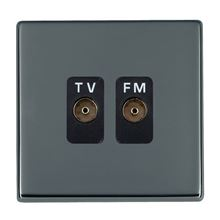 Picture of Hartland Screwless BN/BL 2 Gang Isolated TV/FM 1 in/2 out Coaxial Socket