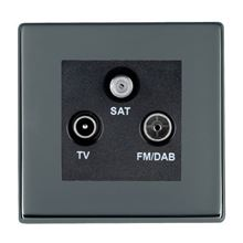 Picture of Hartland Screwless BN/BL 1 Gang TV + 1 Gang FM + 1 Gang Satellite DTV Screened Non Isolated Socket