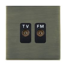 Picture of Sheer Screwless AB/BL 2 Gang Isolated TV/FM 1 in/2 out Coaxial Socket