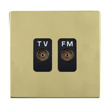 Picture of Sheer Screwless PB/BL 2 Gang Isolated TV/FM 1 in/2 out Coaxial Socket
