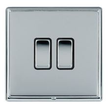 Picture of LRXBCBS 2 Gang 2 Way 10AX Rocker Switch - Black