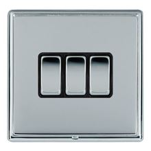 Picture of LRXBCBS 3 Gang 2 Way 10AX Rocker Switch - Black