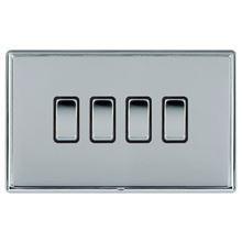 Picture of LRXBCBS 4 Gang 2 Way 10AX Rocker Switch - Black