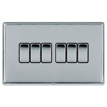 Picture of LRXBCBS 6 Gang 2 Way 10AX Rocker Switch - Black