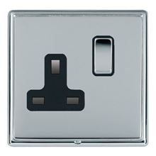 Picture of LRXBCBS 1 Gang 13A Double Pole Switched Socket - Black