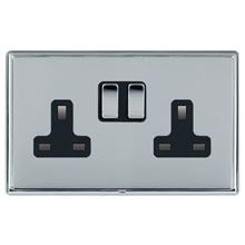 Picture of LRXBCBS 2 Gang 13A Double Pole Switched Socket - Black