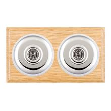 Picture of 2 Gang 20AX 2 Way Toggle Switch - Light Oak Ovolo Edge/ Bright Chrome/ White Collars