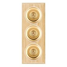 Picture of 3 Gang 20AX 2 Way Toggle Switch - Light Oak Ovolo Edge/ Polished Brass/ White Collars