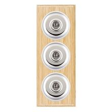 Picture of 3 Gang 20AX 2 Way Toggle Switch - Light Oak Ovolo Edge/ Bright Chrome/ White Collars