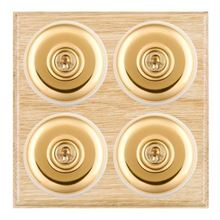 Picture of 4 Gang 20AX 2 Way Toggle Switch - Light Oak Ovolo Edge/ Polished Brass/ White Collars