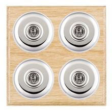 Picture of 4 Gang 20AX 2 Way Toggle Switch - Light Oak Ovolo Edge/ Bright Chrome/ White Collars
