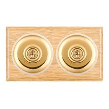 Picture of 2 Gang 20AX Intermediate Toggle Switch - Light Oak Ovolo Edge/ Polished Brass/ White Collars