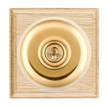 Picture of 1 Gang 20AX Double Pole Toggle Switch - Light Oak Ovolo Edge/ Polished Brass/ White Collars