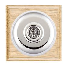 Picture of 1 Gang 20AX Double Pole Toggle Switch - Light Oak Ovolo Edge/ Bright Chrome/ White Collars