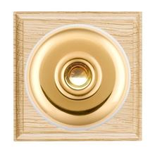 Picture of 1 Gang 240V AC 6A Bell Push - Light Oak Ovolo Edge/ Polished Brass/ White Collars
