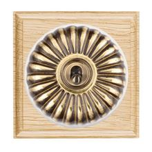 Picture of 1 Gang 20AX Double Pole Toggle Switch - Fluted Dome Light Oak Ovolo Edge/ Antique Brass/ White Collars