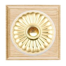 Picture of 1 Gang 240V AC A6 Bell Push - Fluted Dome Light Oak Ovolo Edge/ Polished Brass/ White Collars
