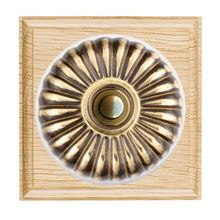 Picture of 1 Gang 240V AC A6 Bell Push - Fluted Dome Light Oak Ovolo Edge/ Antique Brass/ White Collars