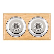 Picture of 2 Gang 20AX 2 Way Toggle Switch - Plain Dome Light Oak Ovolo Edge/ Bright Chrome / Black Collars