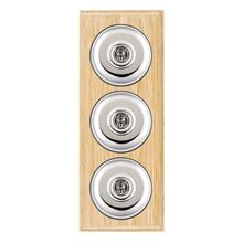 Picture of 3 Gang 20AX 2 Way Toggle Switch - Plain Dome Light Oak Ovolo Edge/ Bright Chrome / Black Collars