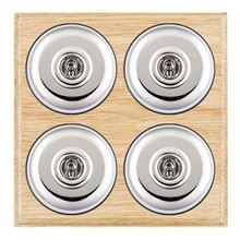Picture of 4 Gang 20AX 2 Way Toggle Switch - Plain Dome Light Oak Ovolo Edge/ Bright Chrome/ Black Collars