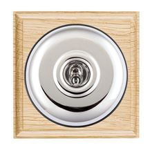Picture of 1 Gang 20AX Intermediate Toggle Switch - Plain Dome Light Oak Ovolo Edge/ Bright Chrome/ Black Collars