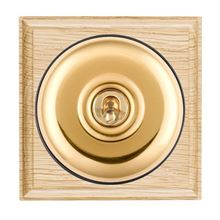 Picture of 1 Gang 20AX Double Pole Toggle Switch - Plain Dome Light Oak Ovolo Edge/ Polished Brass/ Black Collars