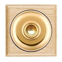 Picture of 1 Gang 240V AC 6A Bell Push - Plain Dome Light Oak Ovolo Edge/ Polished Brass/ Black Collars